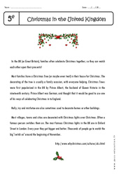 Christmas in the United Kingdom – Lecture compréhension en anglais : 1ere Secondaire