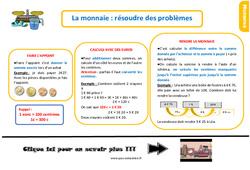 Leçon, trace écrite au  sur la monnaie – Fiches résoudre des problèmes : 2eme Primaire