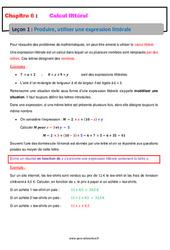 Produire, utiliser une expression littérale – Calcul littéral – Cours : 1ere Secondaire