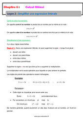Simplifier une expression littérale – Calcul littéral – Cours : 1ere Secondaire