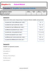 Simplifier une expression littérale – Calcul littéral – Examen Evaluation, bilan, contrôle avec la correction : 1ere Secondaire