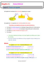 Tester une égalité – Calcul littéral – Cours : 1ere Secondaire