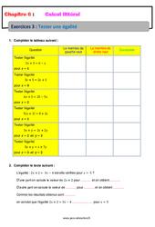 Tester une égalité – Calcul littéral – Exercices avec correction : 1ere Secondaire