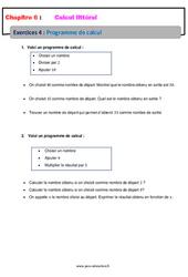 Programme de calcul – Calcul littéral – Exercices avec correction : 1ere Secondaire