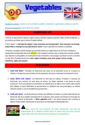 Vegetables – Anglais – Lexique – Séquence complète : 2eme, 3eme Primaire