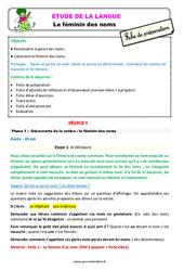 Le féminin des noms – Étude de la langue – Fiche de préparation : 3eme Primaire