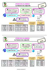 Le féminin des adjectifs – Étude de la langue – Cours, Leçon : 3eme Primaire