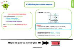 Leçon, trace écrite sur l'addition posée sans retenue au  : 2eme Primaire