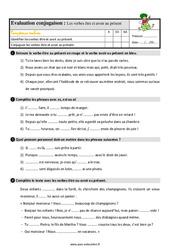 Le présent des verbes être et avoir – Étude de la langue – Examen Evaluation avec les corrigés : 3eme Primaire