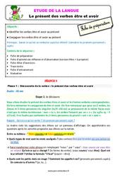 Présent des verbes être et avoir – Étude de la langue – Fiche de préparation : 2eme Primaire