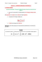 L'énergie cinétique et potentielle – Cours : 3eme Secondaire
