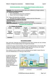 Comment est utilisée l'énergie nucléaire dans les centrales? – Activité documentaire avec les corrections : 3eme Secondaire