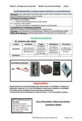 Comment mesurer l'intensité d'un courant électrique? – Activité expérimentale avec les corrections : 2eme Secondaire