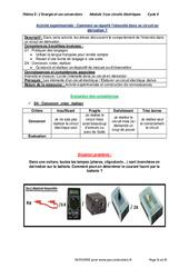 Comment se répartit l'intensité dans un circuit en dérivation? – Activité expérimentale avec les corrections : 2eme Secondaire