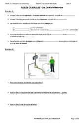 La sécurité électrique – Exercices avec les corrections : 3eme Secondaire