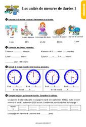 Exercices, révisions sur les unités de mesures de durées au  avec les corrections : 2eme Primaire