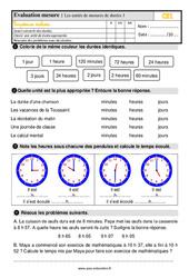 Évaluation, bilan sur les unités de mesures de durées au  avec la correction : 2eme Primaire