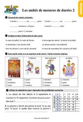 Exercices, révisions au  sur les unités de mesures de durées avec les corrections : 2eme Primaire