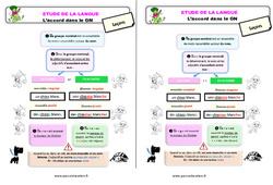 L'accord dans le GN au  – Étude de la langue – Cours, Leçon : 3eme Primaire
