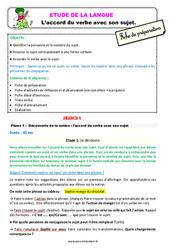 L'accord du verbe avec son sujet – Étude de la langue – Fiche de préparation : 3eme Primaire