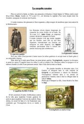 Conquête de la Gaule par les romains – Antiquité- Fiches Exercices   – Document, questionnaire et correction : 3eme Primaire