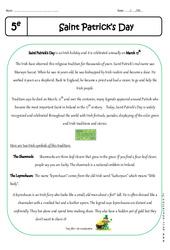 Saint Patrick's Day – Lecture compréhension en anglais : 1ere Secondaire