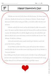 Valentine's Day – Lecture compréhension en anglais : 1ere Secondaire