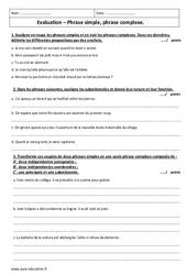 Phrase simple et complexe – Examen Contrôle à imprimer : 2eme Secondaire
