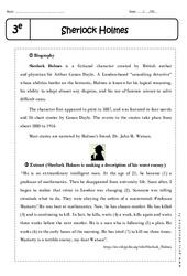 Sherlock Holmes – Lecture compréhension en anglais : 3eme Secondaire