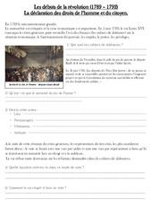 Débuts de la révolution (1789 – 1792) – Exercices – Les Temps Modernes : 4eme, 5eme Primaire