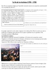 Fin de la révolution révolution (1789 – 1792) – Exercices – Les Temps Modernes : 4eme, 5eme Primaire