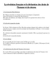 Révolution française et la déclaration des droits de l'homme et du citoyen – Cours, Leçon – Les Temps Modernes : 4eme, 5eme Primaire