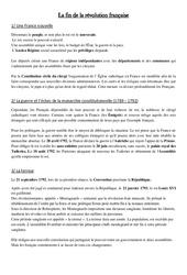 Fin de la révolution française – Cours, Leçon – Les Temps Modernes : 4eme, 5eme Primaire