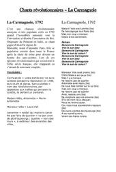 Chant révolutionnaire la carmagnole – Les Temps Modernes : 4eme, 5eme Primaire