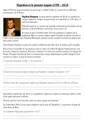 Napoléon et le premier empire – Exercices – Les Temps Modernes : 4eme, 5eme Primaire