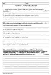 Emplois du subjonctif – Examen Evaluation avec le corrigé : 3eme Secondaire