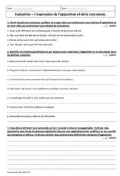 Expression de l'opposition et de la concession – Examen Contrôle à imprimer : 3eme Secondaire
