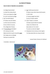 Le chat et l'oiseau – Lecture – Poésie : 6eme Primaire
