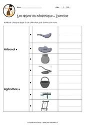 Objets du néolithique – Exercices : 3eme, 4eme Primaire