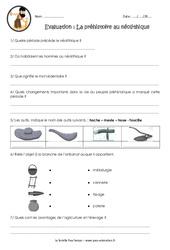 La préhistoire au néolithique – Examen Evaluation – Bilan : 3eme, 4eme Primaire