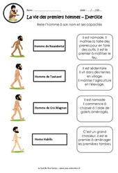 La vie des premiers hommes – Exercices : 3eme, 4eme Primaire