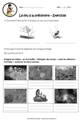 Le feu à la préhistoire – Exercices – Paléolithique : 3eme, 4eme Primaire