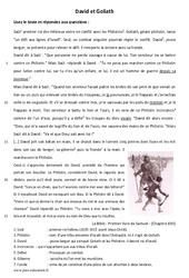 David et Goliath – Récit biblique – Lecture : 6eme Primaire