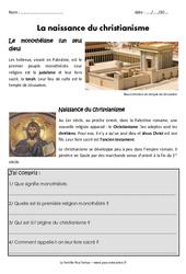 Naissance du christianisme – Exercices – Antiquité : 3eme Primaire