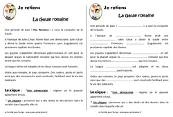 Gaule romaine – Cours, Leçon – Romanisation de la Gaule : 3eme, 4eme Primaire