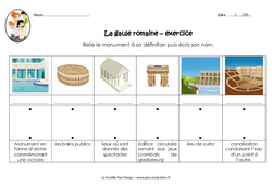 Monuments gallo romains – Exercices : 3eme, 4eme Primaire