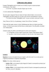 Alternance des saisons – Cours, Leçon – Sciences : 3eme, 4eme Primaire