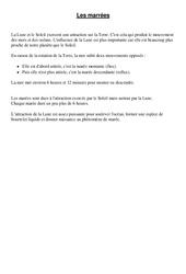 Marées – Cours, Leçon – Sciences : 4eme, 5eme Primaire