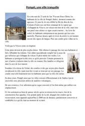 Pompei – Lecture et questions – Sciences : 5eme Primaire
