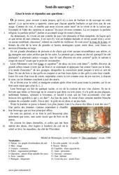 Sont – ils sauvages? – Récit – Lecture – Michel de Montaigne : 1ere Secondaire